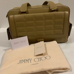 Jimmy Choo Catherine quilted beige leather satchel